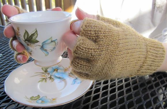Fingerless Gloves - with finger bits mustard - made to order