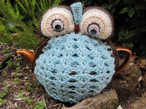 Owl Tea Cosy - duck egg blue - made to order