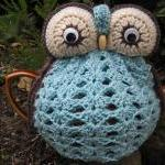 Owl Tea Cosy - duck egg blu..